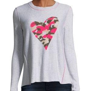 Lisa Todd Swipe Right Camo Heart Sweater LG